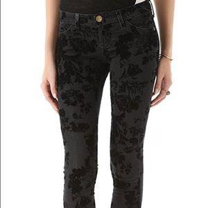 Current / Elliott ankle skinny black velvet floral